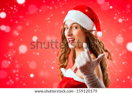 Santa Claus woman wanting you to come over