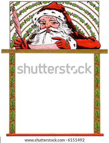 Santa Claus writes a message - holly border & frame - a 1914 vintage illustration - area for type - stock photo