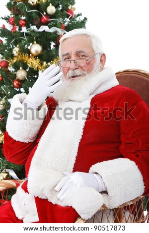 Santa Claus yawning after  hard day, isolated on white background - stock photo