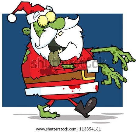 Santa Claus Zombie Walking With Hands In Front. Raster Illustration.Vector version also available in portfolio. - stock photo