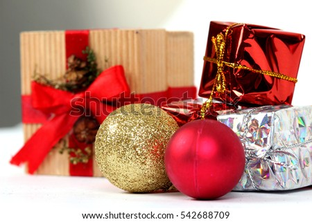 Santa Clause and Christmas gift box on white background