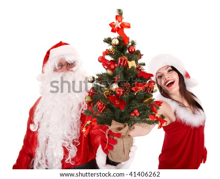 Santa clause  and christmas girl with tree. Isolated.