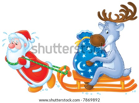 Santa Clause and Reindeer - stock photo