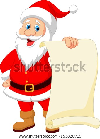 Santa clause cartoon holding blank sign - stock photo