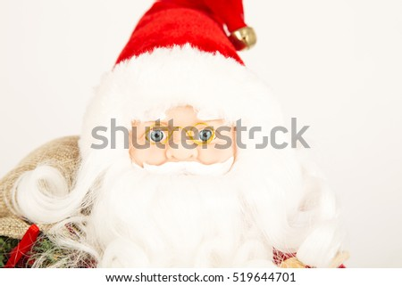 santa, clause ,christmas ,winter,white, background,red ,eyes , blue