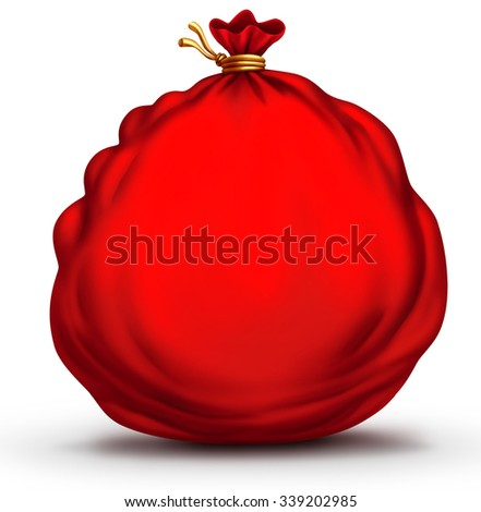 Santa clause gift sack or red holiday present bag object with blank copy space or area for text as a festive christmas item to celebrate the winter tradition of giving. - stock photo