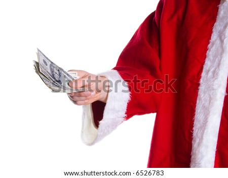 Santa clause giving away some money on white - stock photo