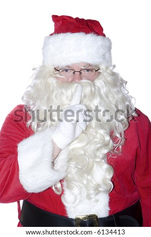 Santa Clause isolated on a white background making the quiet gesture.