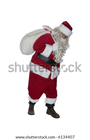 Santa Clause isolated on a white background with bag over his shoulder
