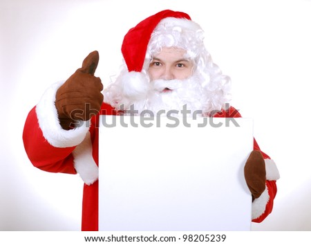 santa clause with advertising board