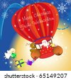 santa clause with reindeer and mouse flying in hot air balloon, angel with present , sky - stock photo