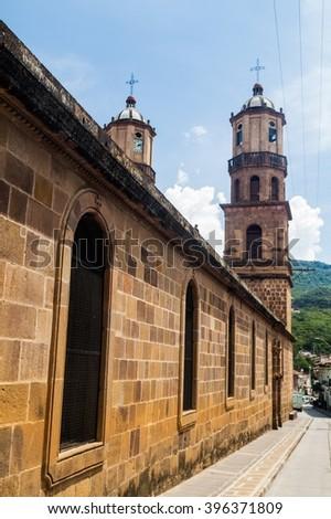 Santa Cruz cathedral in San Gil, Colombia - stock photo