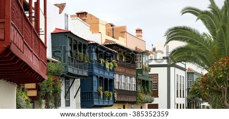 Santa Cruz de la Palma - wooden balconies (La Palma, Canary Islands) - stock photo