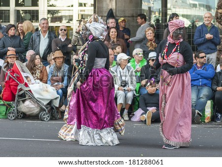"SANTA CRUZ DE TENERIFE, SPAIN - MARCH 4: Clowns of the Carnival during the ""Coso"" or ""Final Parade"" on March 4, 2014 in Tenerife (Canary Islands) Spain."