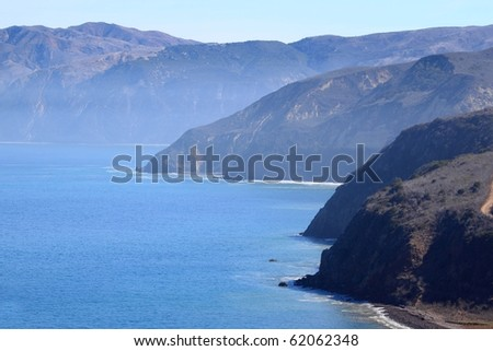 Santa Cruz Island of the cost from Ventura California - stock photo