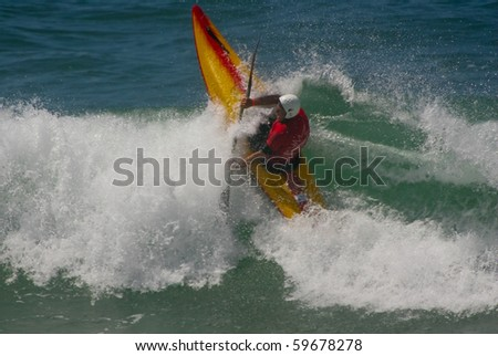 SANTA CRUZ, PORTUGAL - AUGUST 6: Ed Long (ENG) in International Classic Kayaksurf of Ocean Spirit 2010, August  6, 2010 in Santa Cruz, Portugal