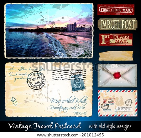 Santa Cruz Travel Vintage Postcard Design with antique look and distressed style. Includes a lot of paper elements and postage stamps. - stock photo