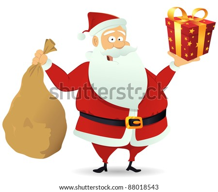 Santa Delivery/ Illustration of santa claus delivering gift box and holding his bag full for christmas holidays