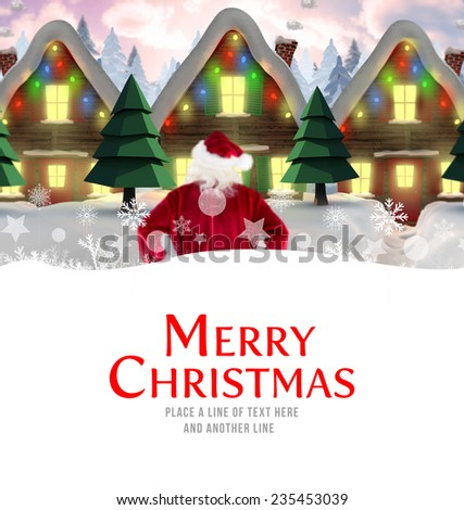 Santa delivery presents to village against merry christmas - stock photo