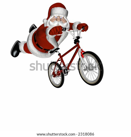 Santa Doing Tricks on a BMX Motocross Bicycle. Isolated on a white background.