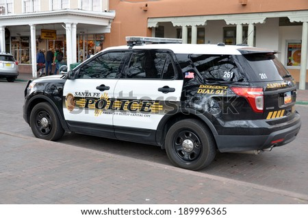 SANTA FE NEW MEXICO AVRIL 23: Santa Fe Police Department car. On april 23 2014 in santa Fe New Mexico USA. Santa Fe is the oldest capital city in the United States. - stock photo