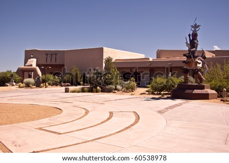 SANTA FE, NEW MEXICO-JULY 21: A view of the Museum of Indian Arts and Culture on July 21, 2010, in Santa Fe.  More than 60,000 visitors annually enjoy modern and traditional Native American art. - stock photo
