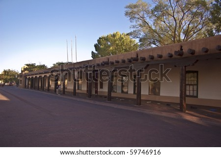 SANTA FE, NEW MEXICO- JULY 18: An early morning view of the Palace of Governors on July 18, 2010 in Santa Fe.  This the oldest public building in the U.S. and site of the famous Indian Market.