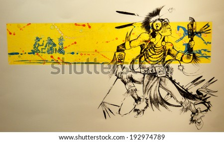 SANTA FE NEW MEXICO USA APRIL 21: Street Art Indian warrior Comes Alive in New Mexico on april 21 2014 in Santa Fe New Mexico USA - stock photo