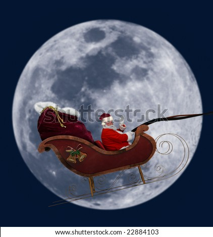 Santa flying in his sleigh against a full moon background - stock photo