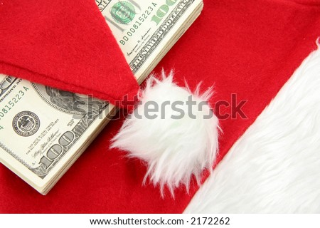 Santa furry red  hat and us dollar, business concept - stock photo