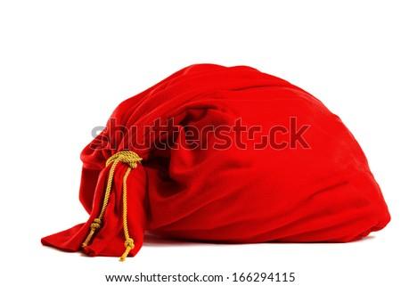 Santa gift bag Isolated on white background - stock photo