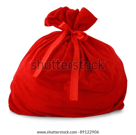 Santa gift bag Isolated on white background - stock photo