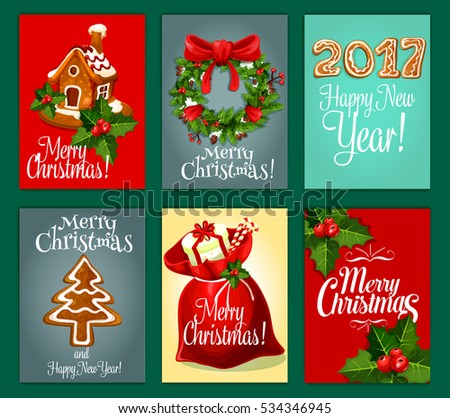 Santa gift bag with present box and candy, holly berry and pine wreath with red bow, gingerbread house, ginger cookie xmas tree and number of 2017 year festive poster set. Vector in gallery