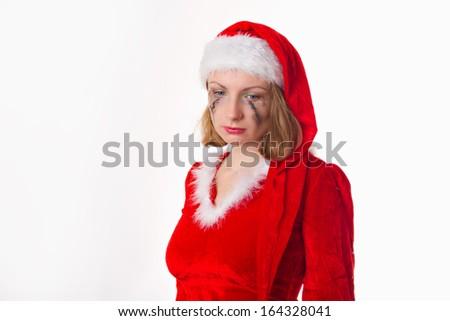 santa girl cries humor heart - stock photo