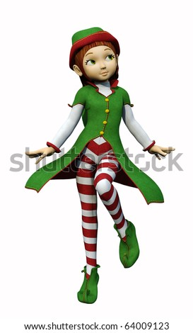 santa girl dancing - stock photo