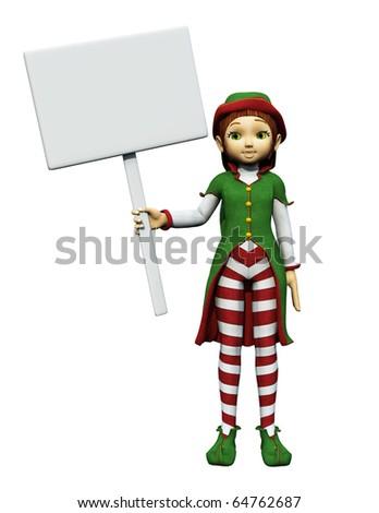 santa girl holding a sign 5 - stock photo