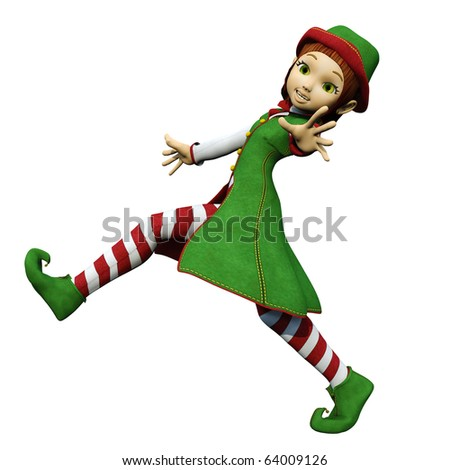 santa girl running long step - stock photo