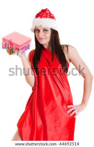 Santa girl with a present - stock photo