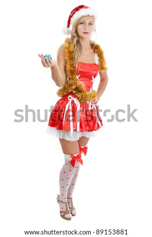 Santa girl with Christmas balls, isolated on white background