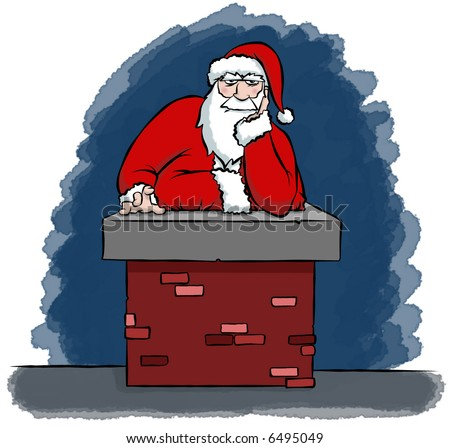 Santa got stuck in a chimney. Looks like he might need to cut back on those cookies. - stock photo