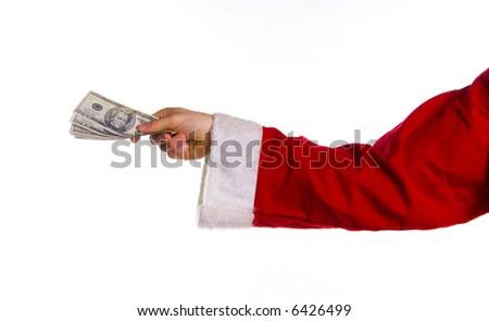 santa hand with some us money on white - stock photo
