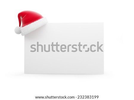 santa hat 3d isolated on a white background - stock photo