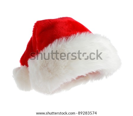 Santa hat isolated on white - stock photo