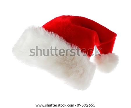 Santa hat isolated on white background - stock photo