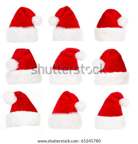 Santa hat  Isolated over white background - stock photo