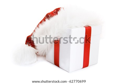 Santa hat on gift box  isolated on white