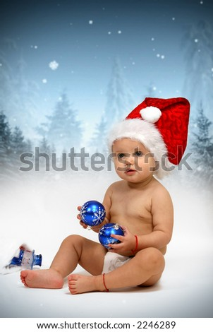 Santa hat on young child