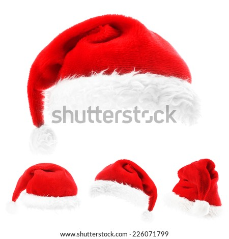 Santa hats on the white background