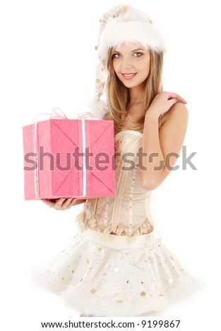 santa helper blond in corset and skirt with pink gift box - stock photo