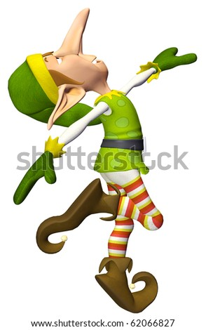 santa helper cartoon big nose walk - stock photo